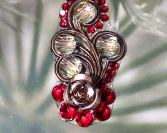Red and AB Clear Crystal Floral Bindi