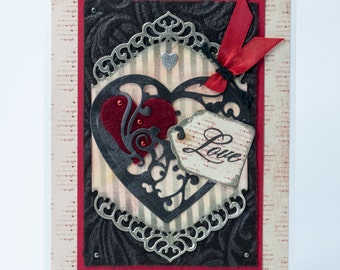 Love, I Carry Your Heart, Handmade Romantic Greeting Card, Special Paper Valentine