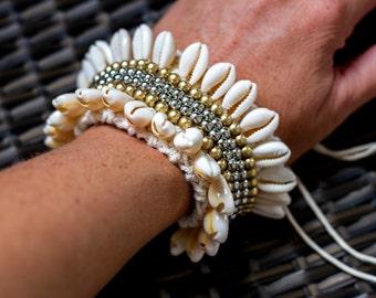 Cowrie Shells and crochet handmade cuff - handmade boho bracelet - Gypsy Bracelet