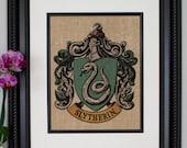 Slytherin Crest - Harry Potter Wall Art, Burlap Wall Art, Color Wall Art