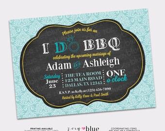 I Do BBQ Barbeque Engagement Party Invitation Bridal Shower Invitation Printable Chalkboard (Aqua Turquoise Teal Yellow Damask Digital File