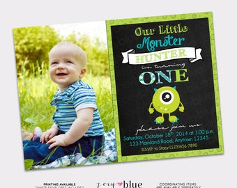 Monster Birthday Invitation Little Monster First Birthday Monster Bash Halloween Party Green Boy 1st Birthday w/ Pic Printable Digital File