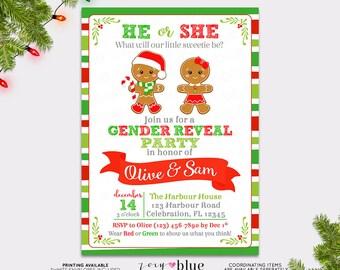 Gingerbread Gender Reveal Invitation - Christmas Baby Shower Invite - Holiday Gender Reveal - Twins Boy Girl Baby Sprinkle - Printable