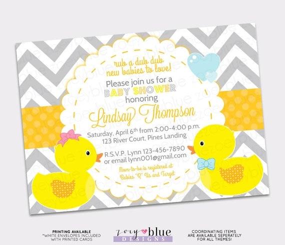 Rubber ducky twins baby shower invitation boy girl bow bowtie il570xn filmwisefo