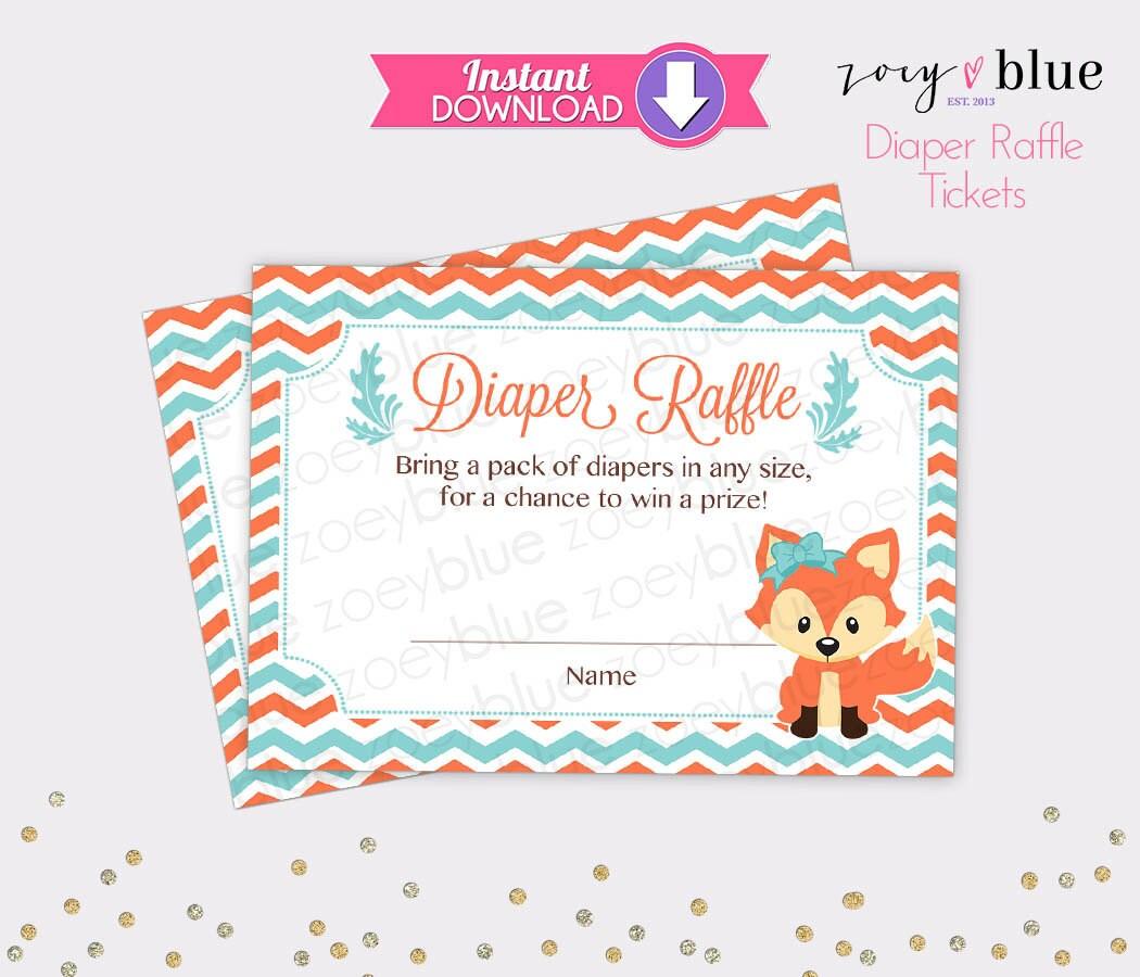 fox diaper raffle tickets coral mint chevron girl baby shower fox diaper raffle tickets coral mint chevron girl baby shower games printable diaper raffle ticket diy printable file instant