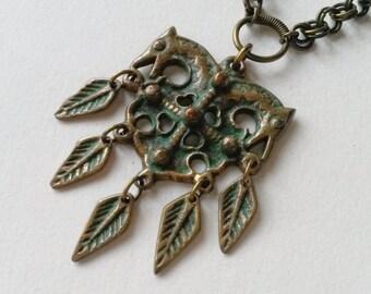 """Vintage Kalevala Koru """"Heporisti"""" Bronze Pendant and Chain, Finland (F283I)"""
