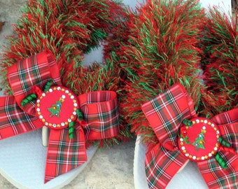 DECORATED FLIP FLOPS, Christmas Trees, Gifts for Her, Holiday Plaid Taffeta Bows, Sparkle with Swarovski Crystal Buttons, Comfy Flats