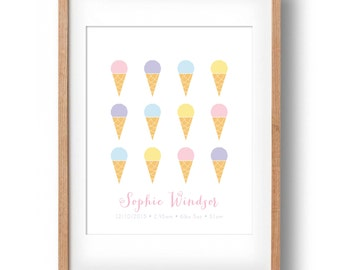 Custom Printable Birth Announcement Print, Icecreams, Digital File