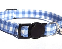 Cat Collar - country blue gingham fabric design