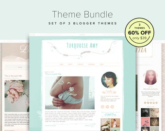 60% OFF Theme Bundle - Set of 3 Floral Blogger Templates - Blogger Theme Bundle