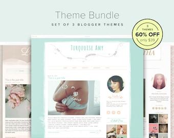 Blog Design Bundle — 60% OFF — Set of 3 Lovely Blogger Templates — Feminine Blog Design — Blogger Theme Bundle — Floral Blog Template — Sale