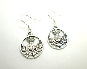 Scottish thistle earrings with 925 sterling silver or silver plated ear wires, celtic jewelry, scotland, charm earrings