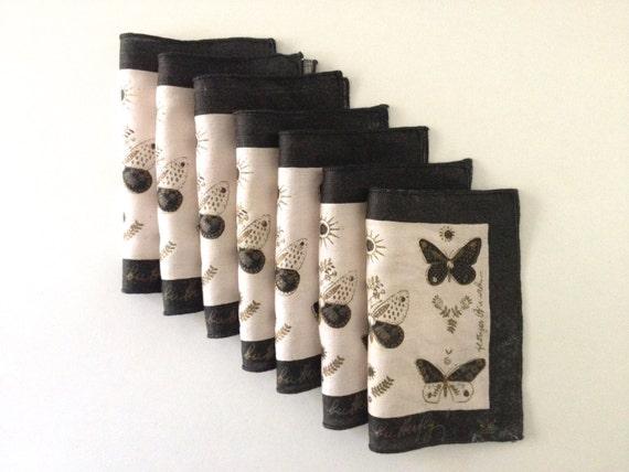 Vintage Georges Briard Cocktail Napkins Linens Butterflies Gold Black Set of 7