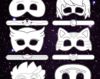 instant download coloring printable digital file bracelets masks party favors
