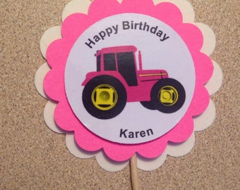 Pink Tractor Party cupcake toppers PERSONALIZED 12