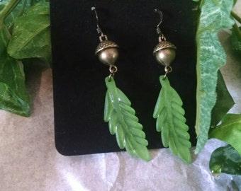 Brass Acorn Earrings -Green
