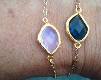Gold plated sapphire or pink opal glass connectors bracelets