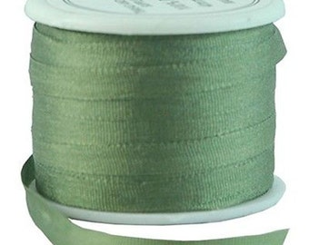 11 Yds (10 M) Embroidery Silk Ribbon 100% Silk 4mm - Sage Green - By Threadart