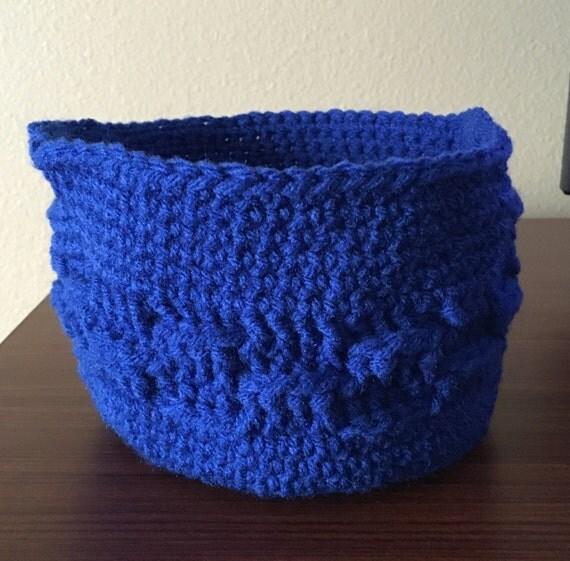 Handmade Crochet Basket : Blue handmade crochet basket storage stacking