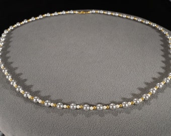 Vintage Jewelry Art Deco Style Grey Faux Pearl with Tiny White and Gold Beaded Necklace Unique Slide Closure   KW55