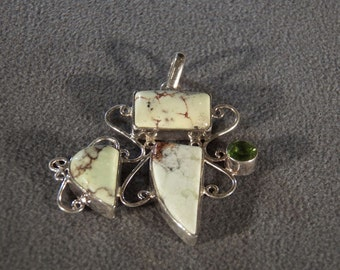Vintage Sterling Silver 3 Rectangle Triangle Striated Agate Round Peridot Fancy Pendant Charm  **RL