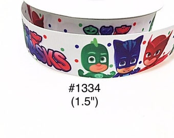 "3 or 5 yards - 1.5"" PJ Mask Polka Dot White Grosgrain Ribbon Hair bow"