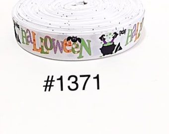 "3 or 5 yard - 1"" Halloween Witch, Bat, & Spider White Grosgrain Ribbon Hair bow"