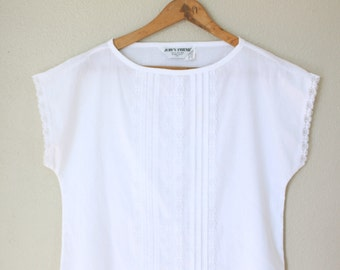 vintage white lace oaxacan peasant tunic top