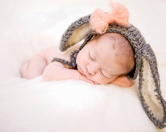 Baby Bunny Hat  - Hand Knit & Crochet Animal Beanie - Photo Prop