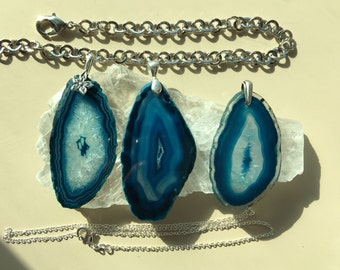 Blue Crystal Agate Druzy Geode Slices Pendants and Necklaces -Oval Shaped