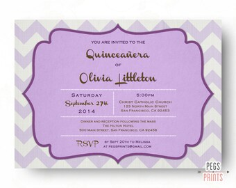 Printable Quinceanera Invitation - Quinceanera Invites - Quinceanera Invitations - Purple Quinceanera Invitation - Pink Quinceanera