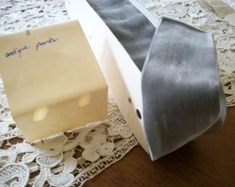 "Vintage rayon Antique Pewter Grey Velvet Trim Ribbon 2"" Yardage Old Store Stock"