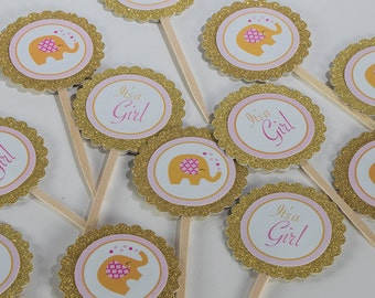 Elephant Theme Baby Shower Dozen Cupcake Toppers