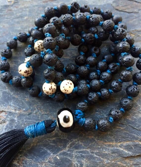 Black Lava Mala Beads  Lotus Beads  Evil Eye Guru Bead Moon , Chandra,  First Chakra , Grounding , Stability First Chakra  Unisex Mala