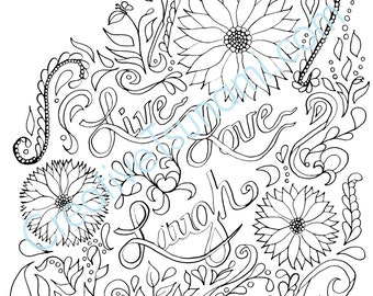 Adult Coloring Page -- Live Love Laugh