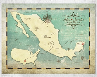 Mexico Map & US Map Art Poster, Personalized Map, Destination Wedding Map, Wedding Guestbook Map