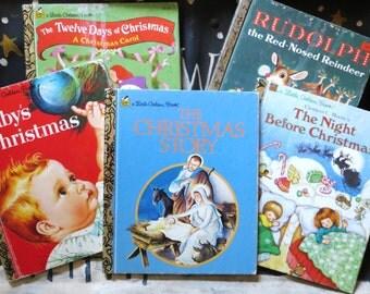 Christmas Books, Vintage Childrens Christmas Books, Little Golden Christmas Books, Set of 5