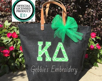 Kappa Delta Licensed Sorority Mud Pie Totes with Applique and Matching Bow, Sorority Bag with Greek Letters, Sorority Carryall