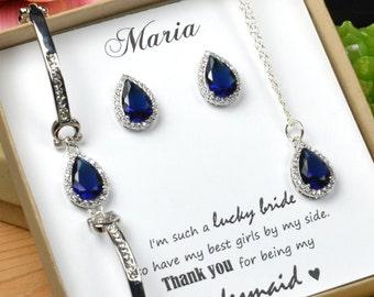Navy blue,sapphire blue Wedding Jewelry Bridesmaid Gift Bridesmaid Jewelry Bridal Jewelry tear drop Earrings ,bridesmaid gift