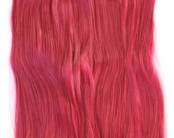"""24"""" Cherry Wine One Piece Multi-Weft Clip in Extension, Red Hair Extension, Thick Hair, Cosplay, Hair Extensions, Halloween, Long Hair"""