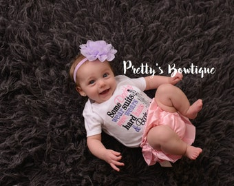 Girls Some Daddys wear suits mine wears hard hats and boots. Bodysuit or t-shirt, bloomer and flower can customize colors