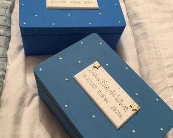 Hand painted personalised wooden keepsake box