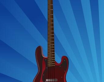 Graphic illustration print poster *Guitars