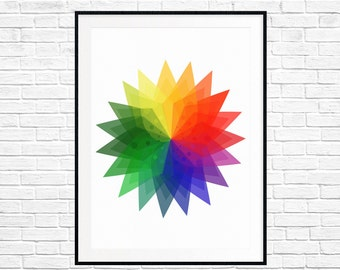 Nursery Print Color Wheel  Children or Kid's Room Art Fine art Giclee Modern Art