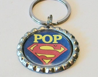 Super Pop Red and Blue Granfather Metal Flattened Bottlecap Keychain Great Gift