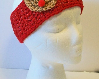 Adorable Red Christmas Choice of Reindeer Snowman or Santa Hand Crocheted Headband Ear Warmer Child & Adult Sizes Available