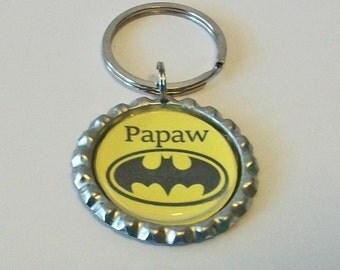 Black and Yellow Superhero Papaw Grandfather Metal Flattened Bottlecap Keychain Great Gift