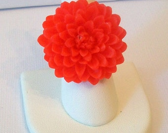 Bright Red Chrysanthemum Chrissy Flower Fashion Ring Adjustable Band