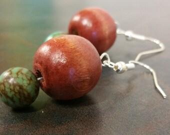 Wood & Howlite Drop Earrings