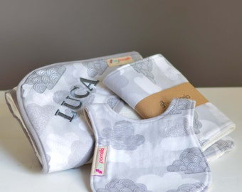 Towel gift set - Organic cotton and bamboo, custom embroidery, clouds, baby gift